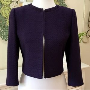 Tahari Purple Cropped Wool Blazer - C